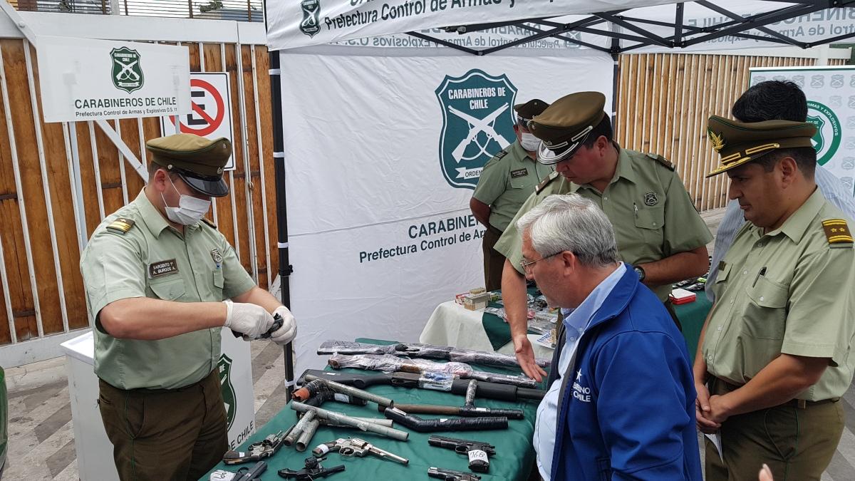 Carabineros ha recibido y decomisado 90 armas de fuego en los últimos meses en Tarapacá.