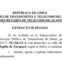 Extracto 20-SP155351 República de Chile Ministerio de Transporte y Telecomunicaciones